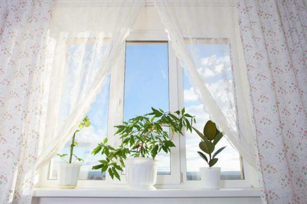 Тюль на окне в комнате