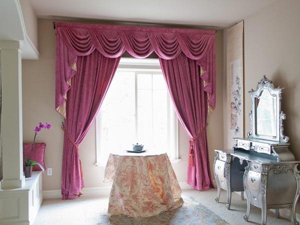 Классические розовые шторы