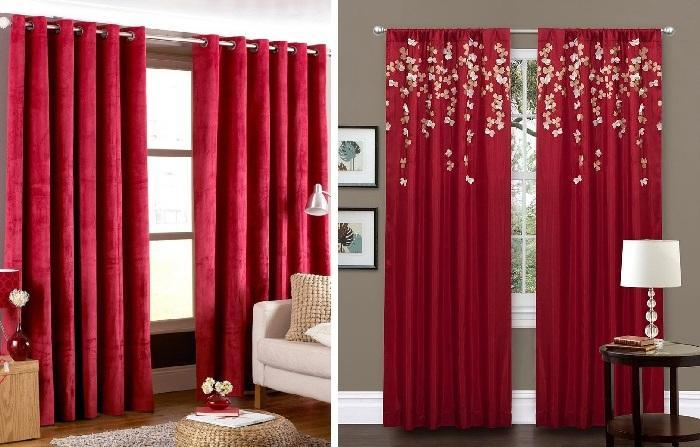 Стили и красные шторы