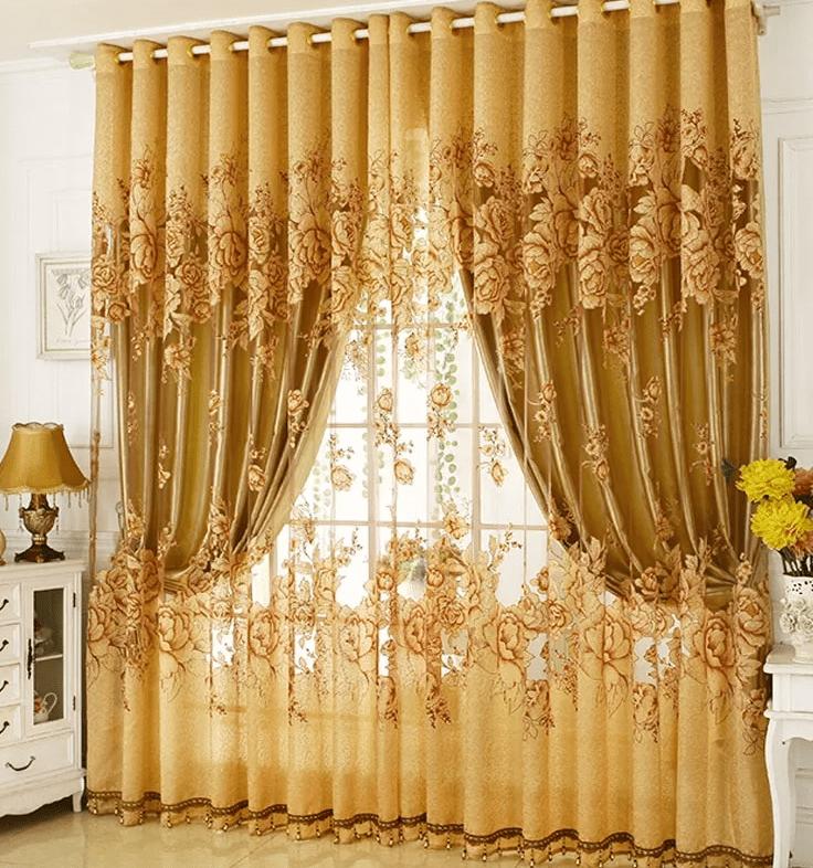 Бело-золотые шторы