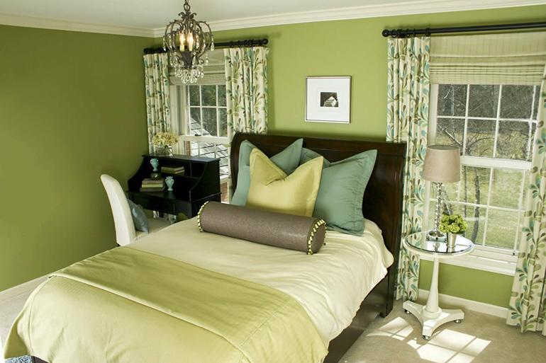 Цвет штор под зеленые стены
