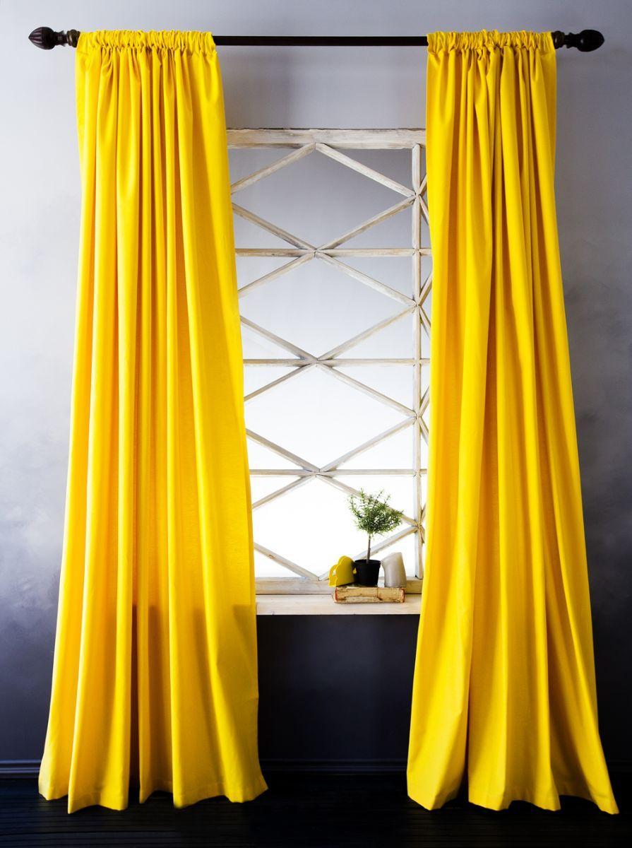 Длинные желтые шторы