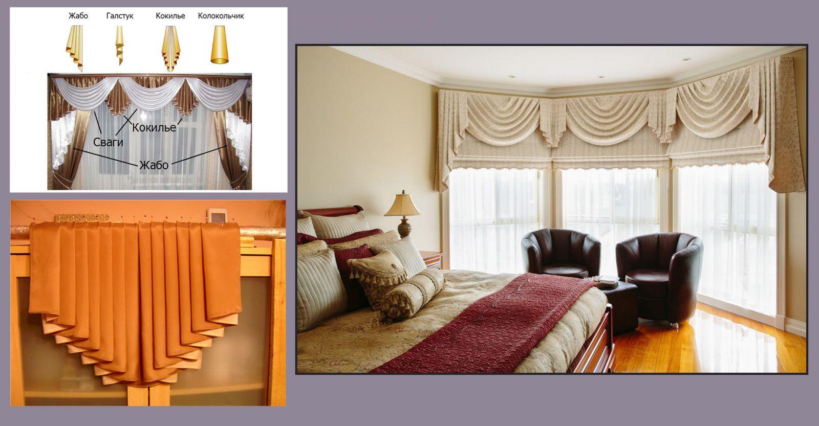 Ламбрекен с кокильё и свагами в дизайне спальни