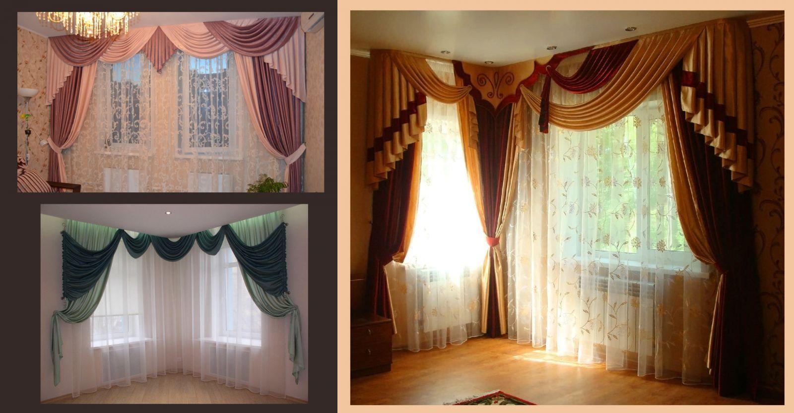 Варианты дизайна двух окон шторами с ламбрекенами
