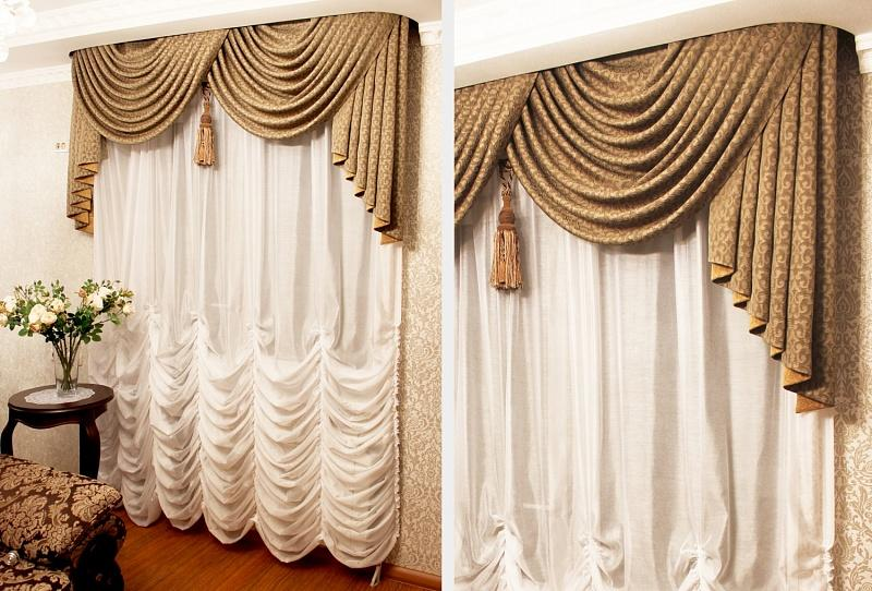 Шторы с мягким ламбрекеном для дизайна зала