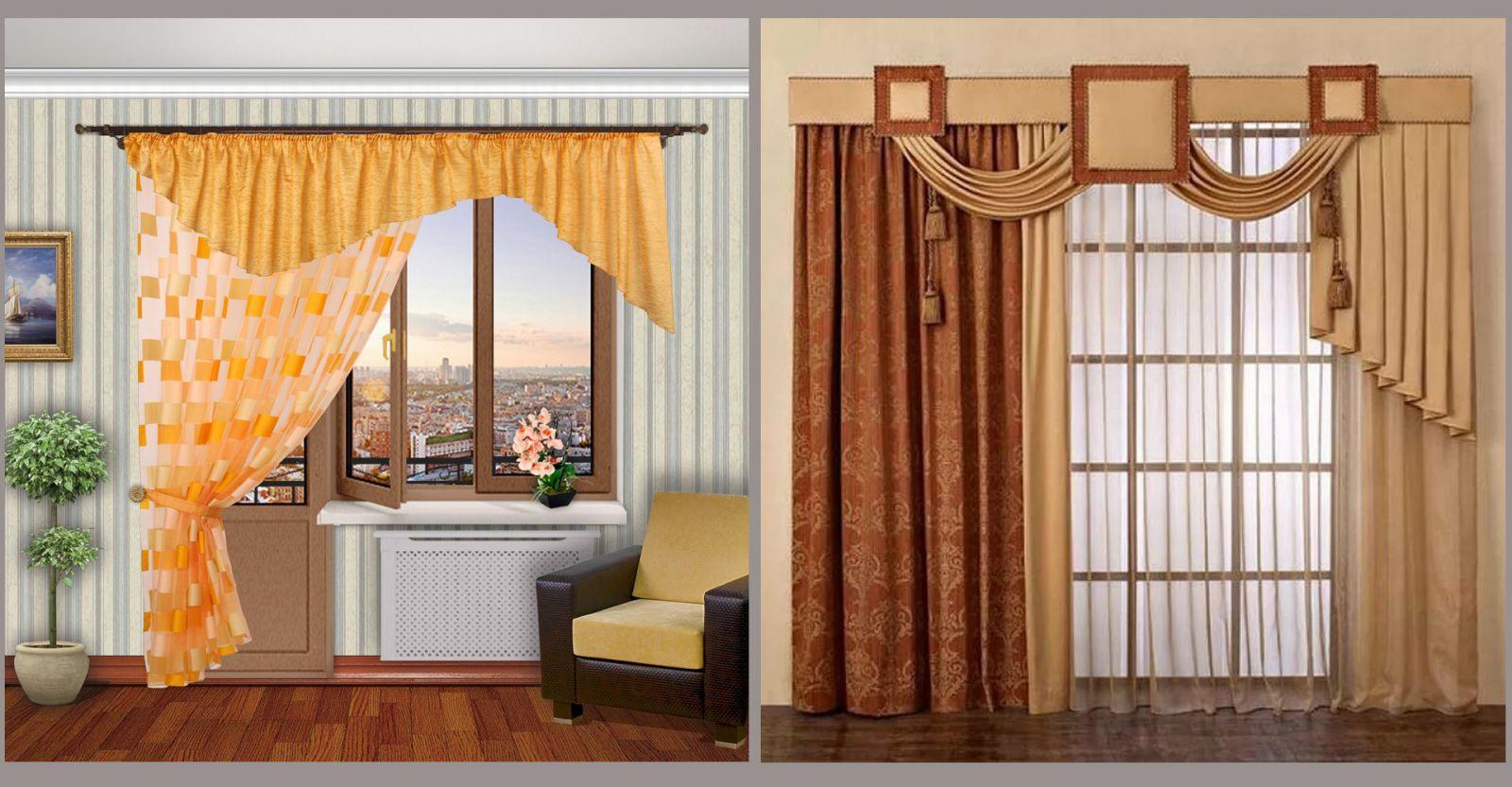 Варианты дизайна шторами и ламбрекенами несимметричных окон