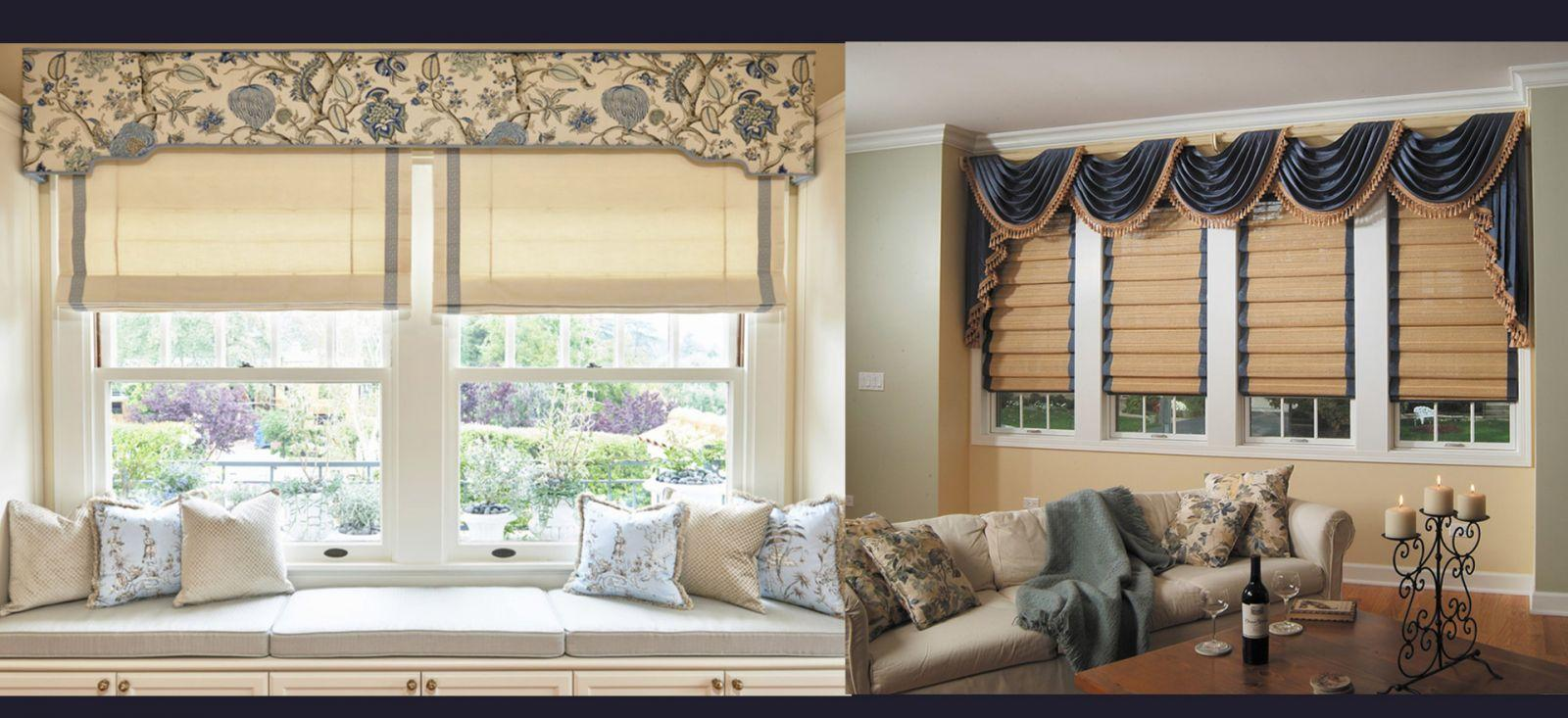 Сочетание римских штор и ламбрекенов в дизайне помещения