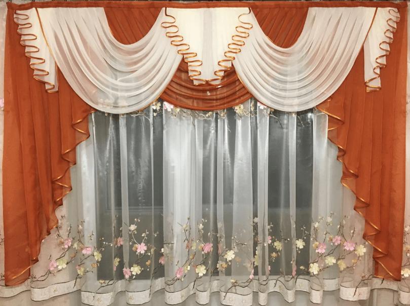 Шифоновый ламбрекен кирпичного цвета на кухню