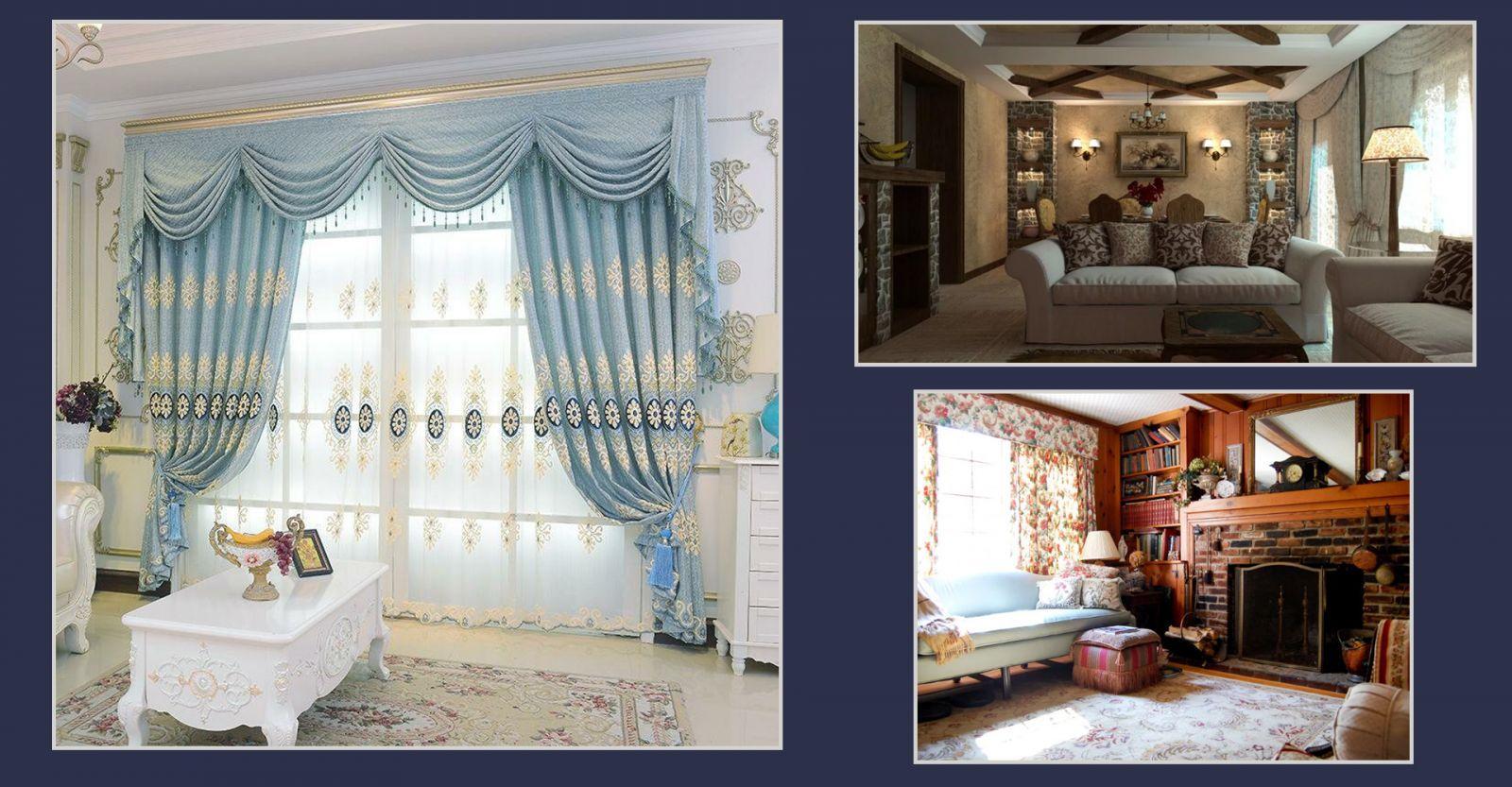 Стиль кантри в интерьере гостиной и шторы в средиземноморском стиле