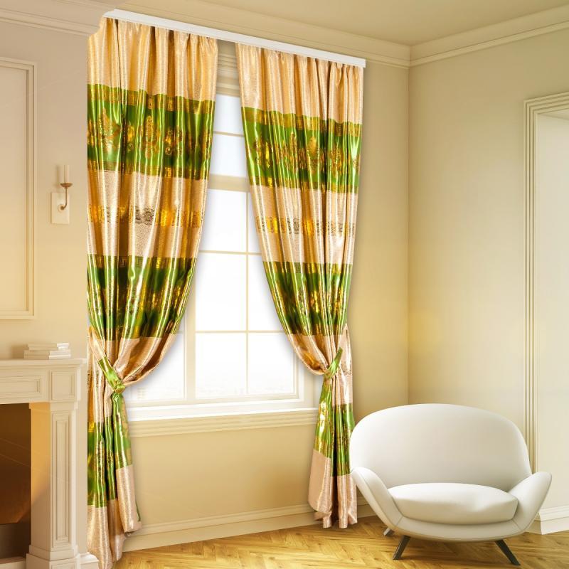 Зелено-золотистые шторы