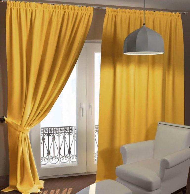 Желтые классические шторы