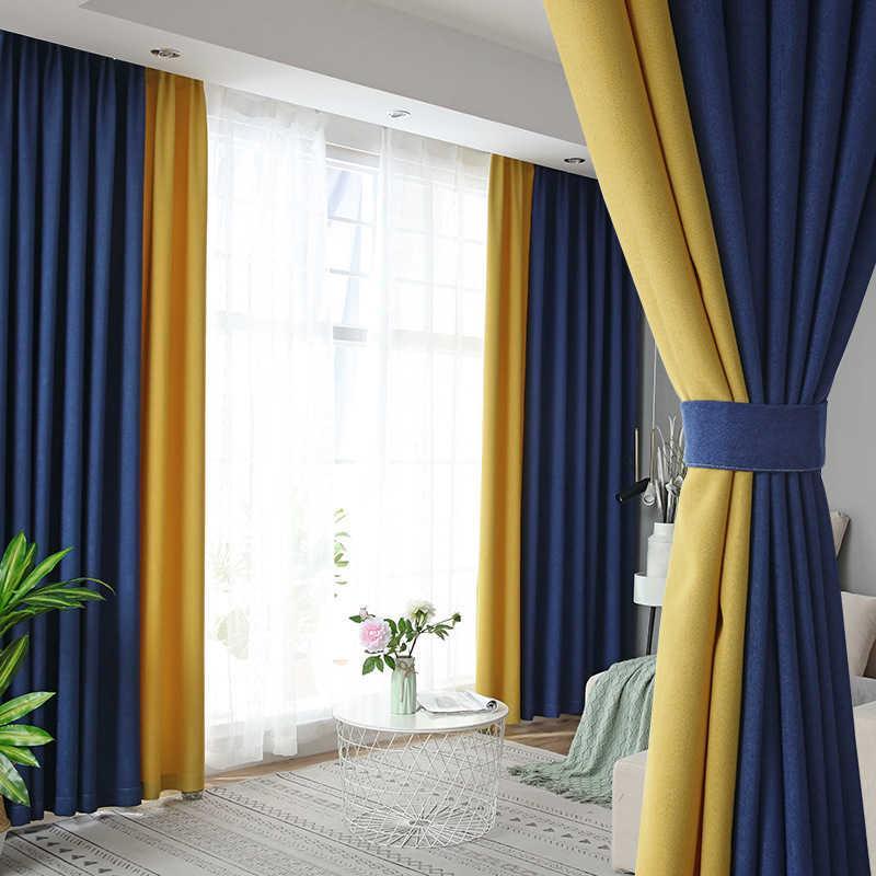Желтые шторы с синим цветом