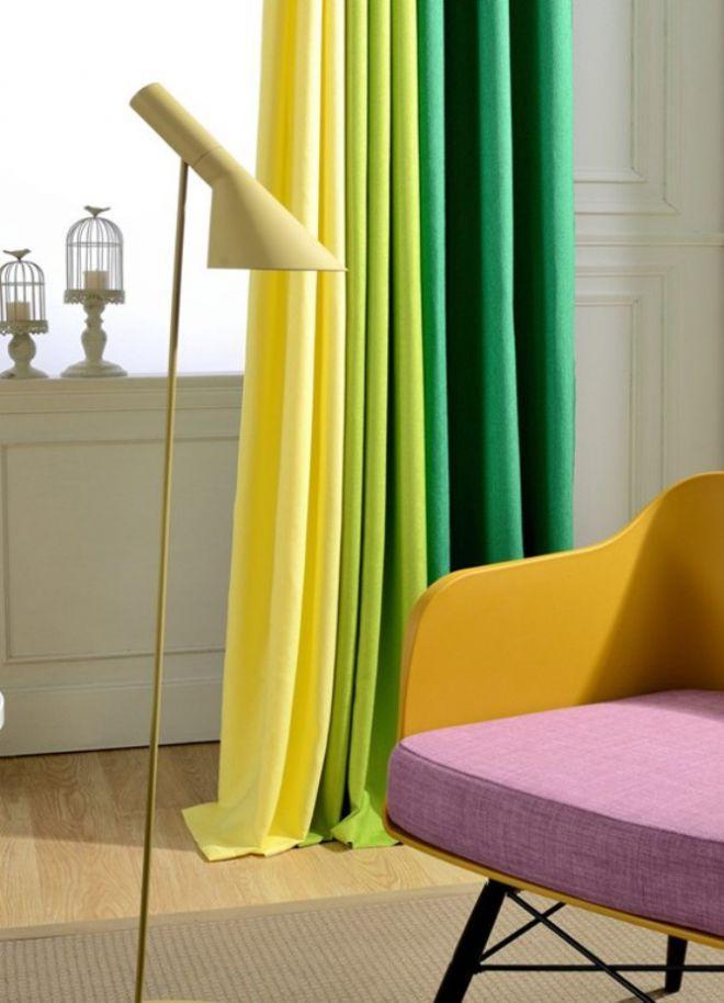 Желтые шторы с зеленым