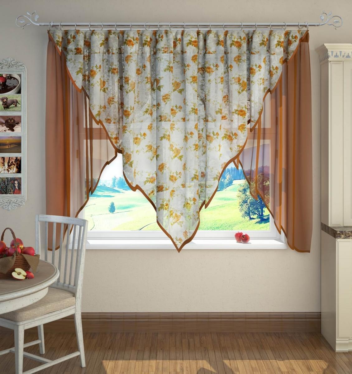 Асимметричные шторы на кухне